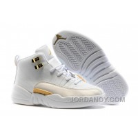 "2017 Kids Air Jordan 12 ""OVO White"" Christmas Deals"
