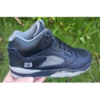 Kids Air Jordan 5 Black Metallic Silver Top Deals