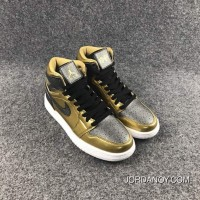 Air Jordan 1 High GS BHM Black Gold Women Best