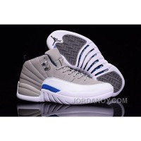 Discount 2016 Air Jordan 12 Wolf Grey White Blue