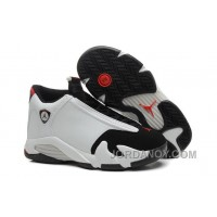"2017 Air Jordan 14 ""Black Toe"" White/Black-Varsity Red-Metallic Silver Christmas Deals"