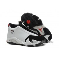 "Hot Now 2016 Air Jordan 14 ""Black Toe"" White/Black-Varsity Red-Metallic Silver"