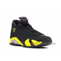 "Super Deals Air Jordans 14 Retro ""Thunder"" Black/Vibrant Yellow-White For Sale"