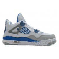 Discount Air Jordans 4 Retro White/Military Blue-Neutral Grey For Sale