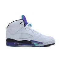 Cheap To Buy Air Jordans 5 Retro White/New Emerald-Grape-Ice Blue For Sale