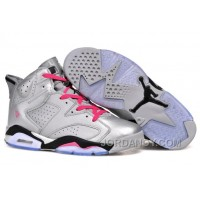 "New Air Jordan 6 Retro ""Valentines Day"" Metallic Silver/Vivid Pink-Black Cheap To Buy"