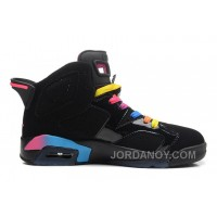 Online Air Jordans 6 Retro Black/Pink Flash-Marina Blue For Sale