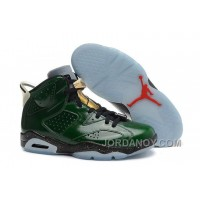 "Free Shipping Air Jordans 6 Retro ""Champagne Bottle"" Pro Green/Metallic Gold-Chilling Red-Black"