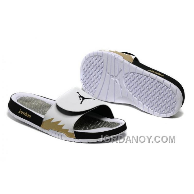 purchase cheap fb662 da896 2017 Air Jordan Hydro 5 White Black Gold Slide Sandals Top Deals