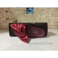 Puma X Fenty Bandana Slide ButterFly Burgundy Women Sandals Cheap To Buy