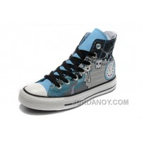 Key Skull Clock Print Blue CONVERSE High Tops Punk Collection Pirate Pattern Canvas Shoes Free Shipping