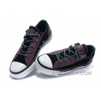 Leather CONVERSE All Star Purple Black Tonal Stitching Tops Trainer For Sale