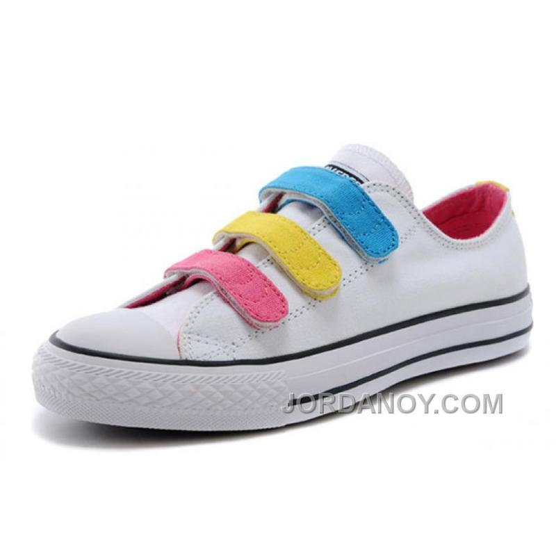 11c4c7774468 USD  75.00  229.00. White CONVERSE Chuck Taylor 3 Straps Pink Yellow Blue  Preschool All Star Velcro Sneakers ...