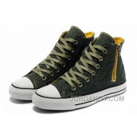 Unisex CONVERSE Leopard Zipper Olive Chuck Taylor All Star High Tops Canvas Shoes Discount Sce8z