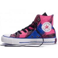 Christmas Deals Shiny CONVERSE Chucks Spray Painting Multi Color Red Blue Black All Star Canvas High Tops Shoes TNKbN6T