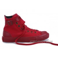 Monochrome Red CONVERSE High Tops Buckles Canvas Shoes Christmas Deals Xr5pHjw