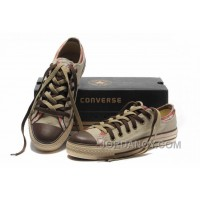 All Star CONVERSE Rens Double Upper Tongue Oxford Tops Beige Canvas Orange Plaid Brown Toe And Laces Shoes Free Shipping 73TWxc5