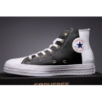 CONVERSE Black Leather Two Panels Chuck Taylor All Star High Tops Authentic BanA4tf