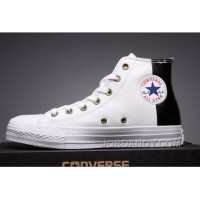 CONVERSE White Leather Two Panels Chuck Taylor All Star High Tops Authentic EwmfE