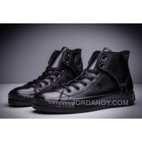 All Black CONVERSE All Star Leather Side Velcro High Tops Authentic JHHCS