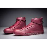 Monochrome Red CONVERSE Single Buckle All Star High Tops Leather Christmas Deals YTiSn