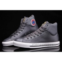 Grey CONVERSE CT AS Embroidery Padded Collar High Tops Leather For Sale JAfrQp