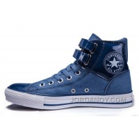 Blue All Star CONVERSE Two Buckles Chuck Taylor Shiny Leather Padded Collar High S Sneakers Top Deals 2eXMjd8