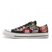 Black CONVERSE American Retro Pattern Printing Tops Chuck Taylor All Star Canvas Sneakers Christmas Deals J357w