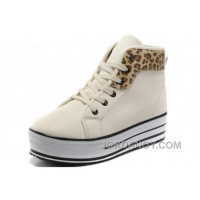 White CONVERSE All Star Platform Leather Leopard Authentic