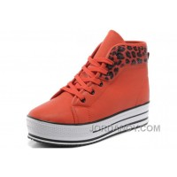 Orange Red CONVERSE All Star Platform Leopard Leather Free Shipping