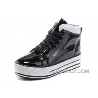 New All Star Platform CONVERSE Shiny Black Leather Shoes Authentic