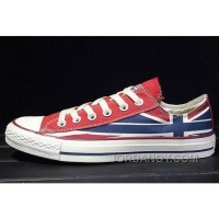 CONVERSE Rock Union Jack British Flag Red Blue Chuck Taylor All Star Canvas Sneakers For Sale KNTH5