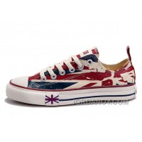 Blue CONVERSE British Flag Print All Star Beige Red Canvas London Shoes Discount ZWddhR