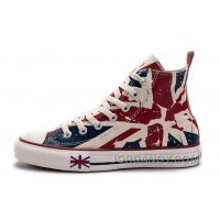Blue CONVERSE British Flag Print All Star Beige Red Canvas London Shoes Lastest Jh7STT