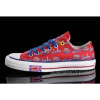 Red CONVERSE British Flag London Bus Printed Canvas Transparent Soles Shoes Christmas Deals SfkMaCZ