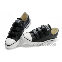 Black Leather CONVERSE All Star 3 Strap Velcro Black Sneakers Free Shipping WaWDFT