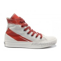 CONVERSE Girls Red White Painted Shoes Women Authentic WCbK7M
