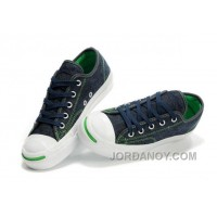 CONVERSE Jack Purcell Blue Denim Jean With Green Serif Canvas Shoes Top Deals 8Brn7