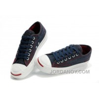 Blue CONVERSE Jack Purcell Denim Jean Red Serif Canvas Sneakers Free Shipping IXYQYYx