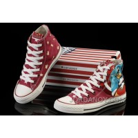Captain America CONVERSE Red High Ps Canvas Shoes Cheap To Buy Cdbwsc