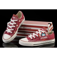 Red Captain America CONVERSE Tops Canvas Shoes Lastest RC6Ak