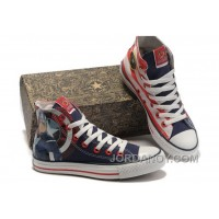 CONVERSE Captain America High S The Avengers Edition Blue Red White Stripes Canvas Shoes Top Deals M7AwKe