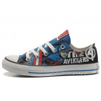 CONVERSE Captain America The Avengers Edition Printed Blue Black Tops Canvas Shoes Discount 28pMP