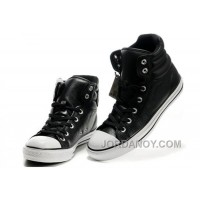 New Embroidery Black Leather CONVERSE Padded Collar Chuck Taylor All Star Winter Boots Authentic C8tQN