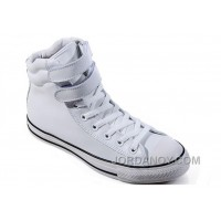 White Embroidery CONVERSE Padded Collar Chuck Taylor All Star Double Buckles Velcro Leather Winter Boots Online PQ23W