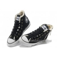 CONVERSE Winter Chuck Taylor All Star Soft Nap Inside Zipper Black Canvas Sneakers For Sale CMZmWd