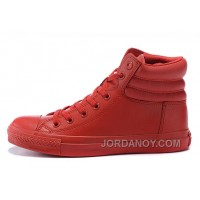 All Star Red High CONVERSE Embroidery Leather Padded Collar Winter Discount ESetS