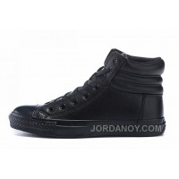 All Black All Star CONVERSE Embroidery Leather Padded Collar Winter For Sale CG623K