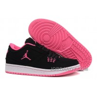 Discount Girls Air Jordan 1 Low Black Pink Shoes For Sale