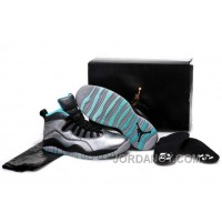 "Top Deals Girls Air Jordan 10 ""Lady Liberty"" Cement Grey/Black-Tropical Teal Remastered"